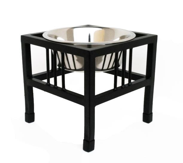 Baron single bowl elevated dog bowl stand in black small dog