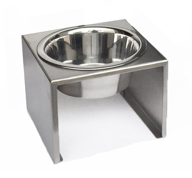 Pets Stop Slate Dog Single Bowl Raised Dog Food Stand Modern Stainless Steel