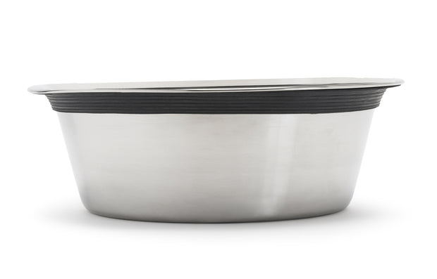 Pets Stop - Food Safe 201 Stainless Steel Pet Bowls with Bonded Rubber Ring Replacement Stainless Steel Pet Bowls, Heavy Duty Dog Bowls
