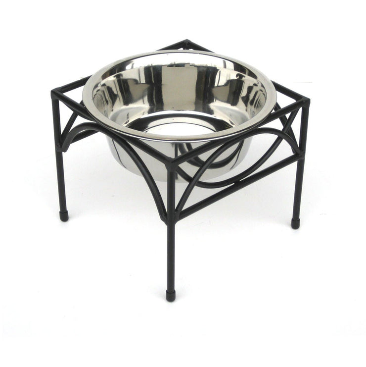 Pets Stop Regal Elevated Dog Diner Bowl Stand Sinlge Bowl Black Wrought iron
