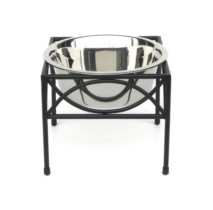 Pets Stop Regal Elevated Dog Diner Single Bowl Wrought Iron
