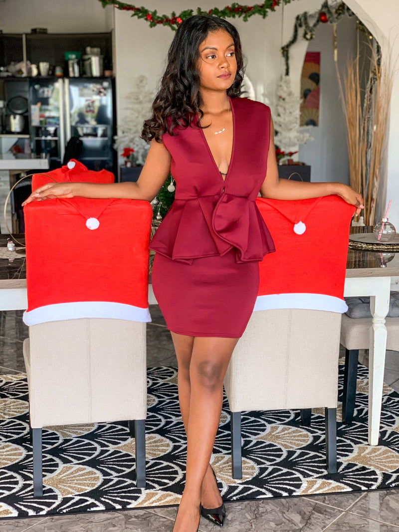 Robe Bordeaux Peplum - Mayfair