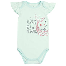 "Load image into Gallery viewer, FH-5021 - Baby Girl Bodysuit/Romper - ""Always Be a Mermaid"" Scuba Blue - Featherhead Baby"