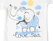 "Load image into Gallery viewer, FH-118 - Baby Boy Bodysuit/Romper - ""Love Sea"" Blue Elephant Print - Featherhead Baby"
