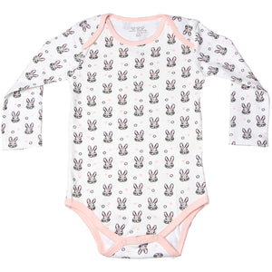 FH-119 - Baby Girl Bodysuit/Romper - Pink Rabbit All-Over Print - Featherhead Baby
