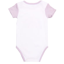 "Load image into Gallery viewer, FH-5025 - Baby Girl Bodysuit/Romper - ""Rainbow"" White with Purple Sleeves"