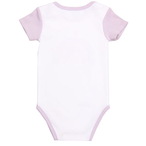 "FH-5025 - Baby Girl Bodysuit/Romper - ""Rainbow"" White with Purple Sleeves"