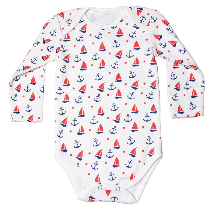 FH-120 - Baby Boy Bodysuit/Romper - Red Sailor All-Over Print