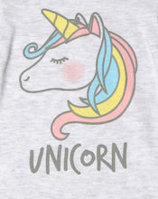 "Load image into Gallery viewer, FS-121 Baby Girl Bodysuit/Romper - Grey ""Unicorn"" Print - Featherhead Baby"