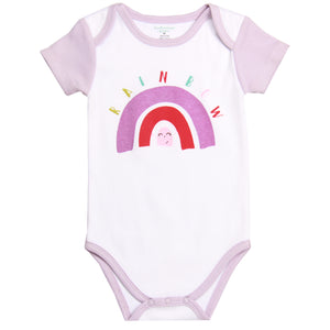 "FH-5025 - Baby Girl Bodysuit/Romper - ""Rainbow"" White with Purple Sleeves - Featherhead Baby"