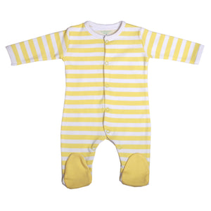 FH-7001 - Baby Girl & Baby Boy Sleeper - Yellow Stripe - Featherhead Baby
