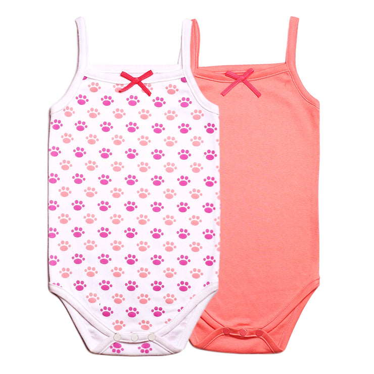 FS-68 Baby Girl 2-Pack Tank Tops - Pink Solid & Paws Print - Featherhead Baby