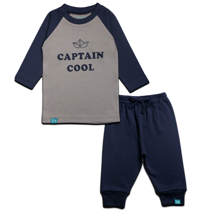 FS-23 Grey Alloy Captain Cool Shirt & Navy Pants - Featherhead Baby