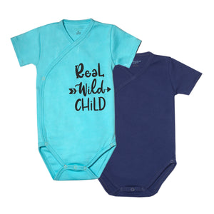 "FS-125 Baby Boy 2-Pack Bodysuit/Romper - ""Real Wild Child"" Print and Navy Solid - Featherhead Baby"