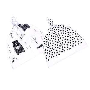 FS-77 Accessories for Baby Boy 2-Pack Caps - Bear & Polka Dot Print - Featherhead Baby