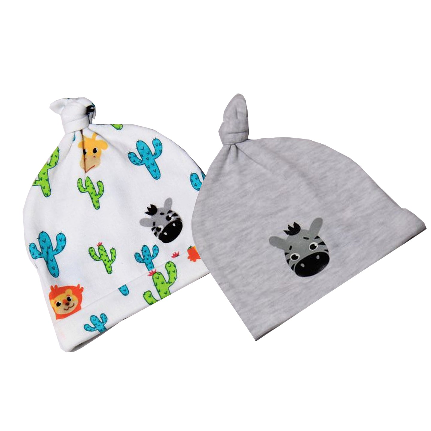 FS-79 Accessories for Baby Boy 2-Pack Caps - Animal and Zebra Print - Featherhead Baby