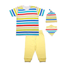 Load image into Gallery viewer, FS-127 Baby Boy 4-Piece Sleeping Set - Rainbow Stripe Print - Featherhead Baby
