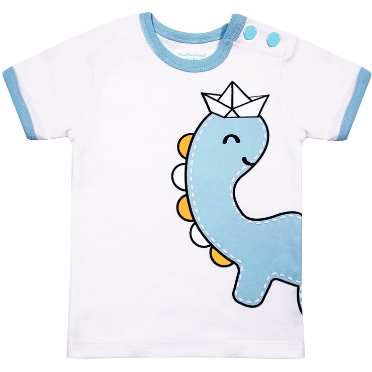 FB-3006 White Dinosaur T-Shirt - Featherhead Baby