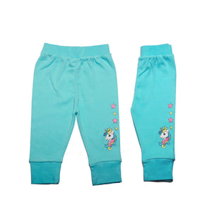 FC-1002 Baby Girl Pant on Clearance - Solid Blue with Unicorn Print - Featherhead Baby