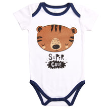 "Load image into Gallery viewer, FH-5029 - Baby Boy Bodysuit/Romper - ""Super Cute"" Print - Featherhead Baby"