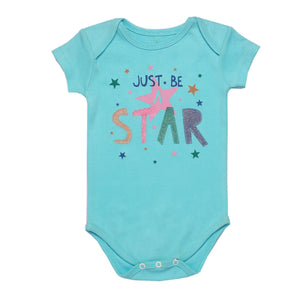 "FH-5049 - Baby Girl Bodysuit/Romper - ""Just Be A Star"" Colorful Stars Print - Featherhead Baby"