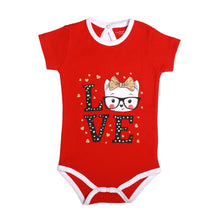 "Load image into Gallery viewer, FS-147 Baby Girl Bodysuit/Romper - ""Love"" Print - Featherhead Baby"