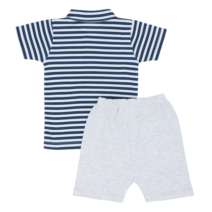 FB-3502 Navy Stripe Polo & Heather Grey Shorts - Featherhead Baby