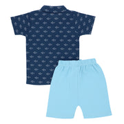 FB-3503 Sailboat Polo & Canal Blue Shorts - Featherhead Baby