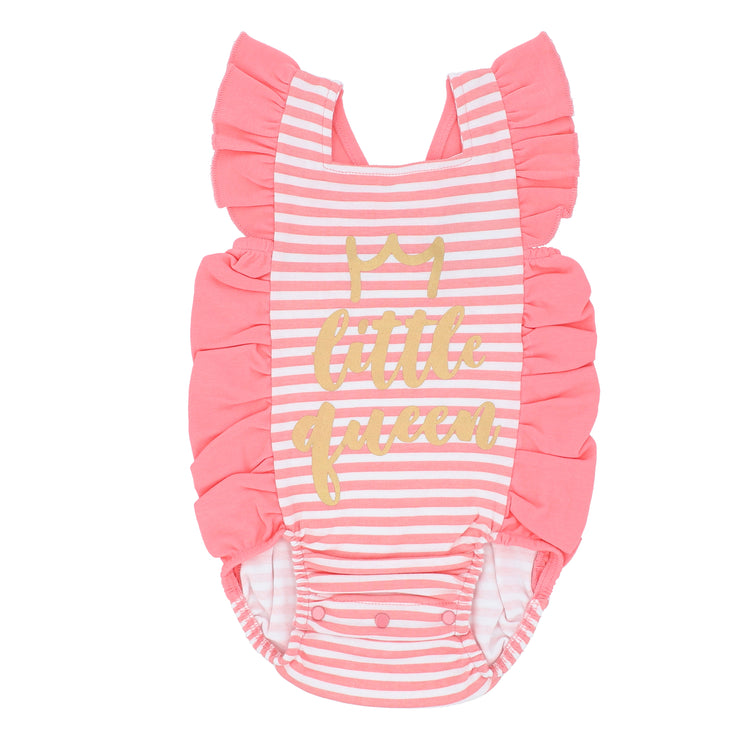 FG-2505 Pink Stripe Cross-Over Frill Bodysuit - Featherhead Baby