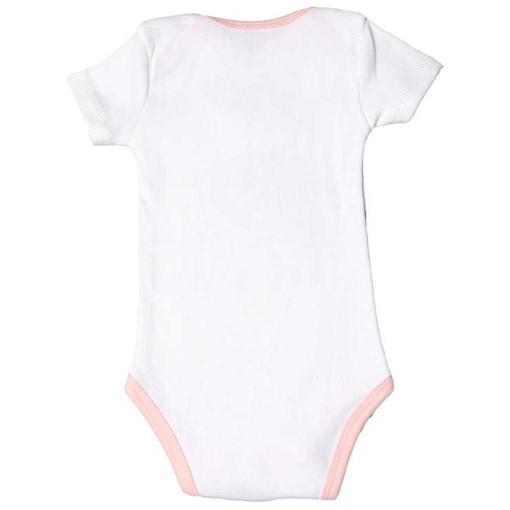"FS-117 Baby Girl Bodysuit/Romper - Pink ""Caturday Meow"" Kitty Print - Featherhead Baby"