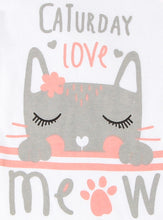 "Load image into Gallery viewer, FS-117 Baby Girl Bodysuit/Romper - Pink ""Caturday Meow"" Kitty Print - Featherhead Baby"