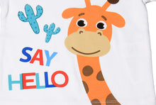 "Load image into Gallery viewer, FS-101 Baby Boy T-Shirt - ""Say Hello"" Giraffe Print - Featherhead Baby"