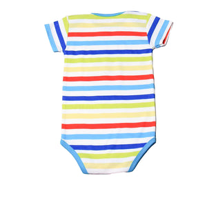 FH-104 - Baby Boy Bodysuit/Romper - Rainbow Stripe with Zebra Print - Featherhead Baby