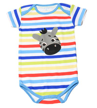 Load image into Gallery viewer, FH-104 - Baby Boy Bodysuit/Romper - Rainbow Stripe with Zebra Print
