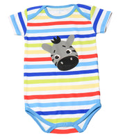 FS-104 Baby Boy Bodysuit/Romper - Rainbow Stripe with Zebra Print - Featherhead Baby