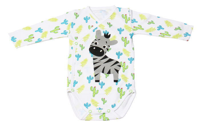 FH-105 - Baby Boy Bodysuit/Romper - Zebra and Trees Print - Featherhead Baby