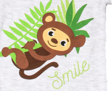 "Load image into Gallery viewer, FH-106 - Baby Boy Bodysuit/Romper - ""Smile"" Monkey Print - Featherhead Baby"