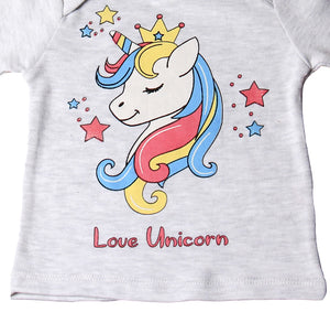 "FS-109 Baby Girl T-Shirt - ""Love Unicorn"" Print - Featherhead Baby"