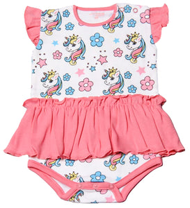 FH-111 - Baby Girl Bodysuit/Romper - Floral and Unicorn Print - Featherhead Baby