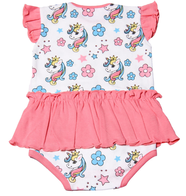 FS-111 Baby Girl Bodysuit/Romper - Floral and Unicorn Print - Featherhead Baby