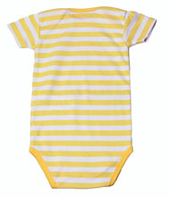 Load image into Gallery viewer, FH-112 - Baby Girl Bodysuit/Romper - Yellow Striped with Unicorn Print - Featherhead Baby