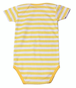 FH-112 - Baby Girl Bodysuit/Romper - Yellow Striped with Unicorn Print - Featherhead Baby