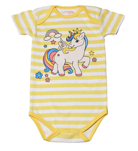 FH-112 - Baby Girl Bodysuit/Romper - Yellow Striped with Unicorn Print