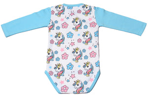FH-113 - Baby Girl Bodysuit/Romper - Unicorn and Floral all over print - Featherhead Baby