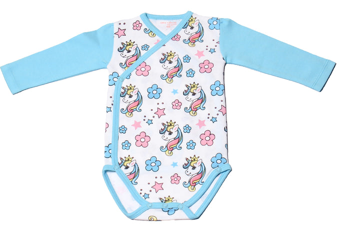 FH-113 - Baby Girl Bodysuit/Romper - Unicorn and Floral all over print
