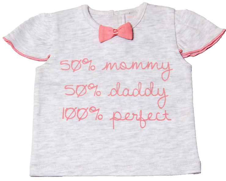 "FS-116 Baby Girl T-Shirt - ""50% Mommy 50% Daddy 100% Perfect"" - Featherhead Baby"