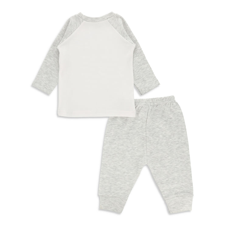 FB-3002 White Awesome All The Time Shirt & Grey Alloy Pants - Featherhead Baby