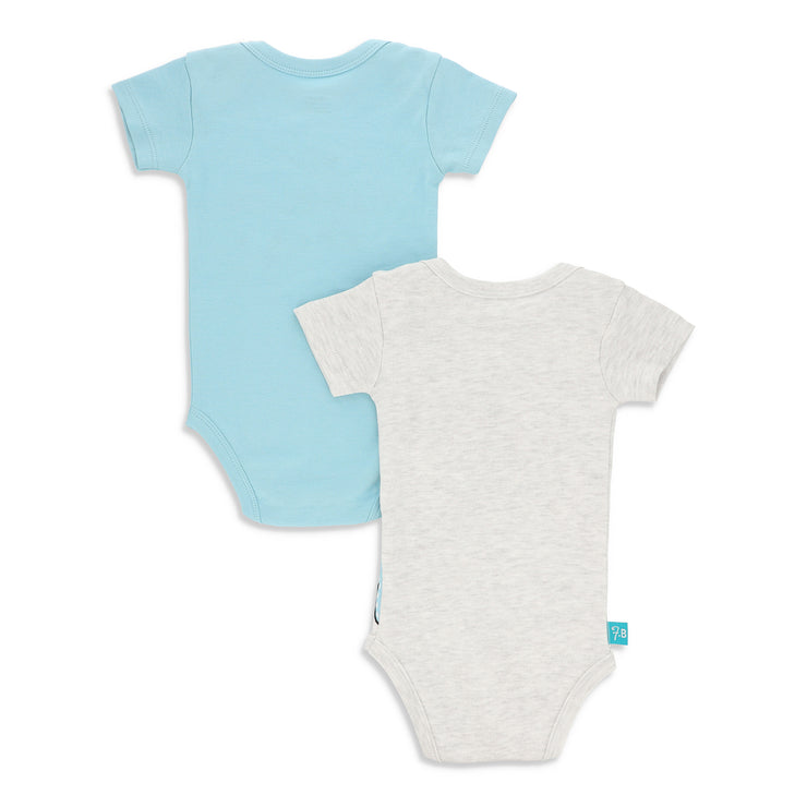 FB-2001 Grey Alloy & Canal Blue 2-Pack Bodysuits - Featherhead Baby