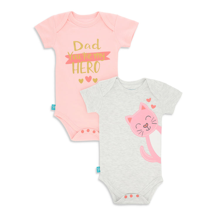 FG-2001 Cat & Dad You Are My Hero 2-Pack Bodysuits - Featherhead Baby