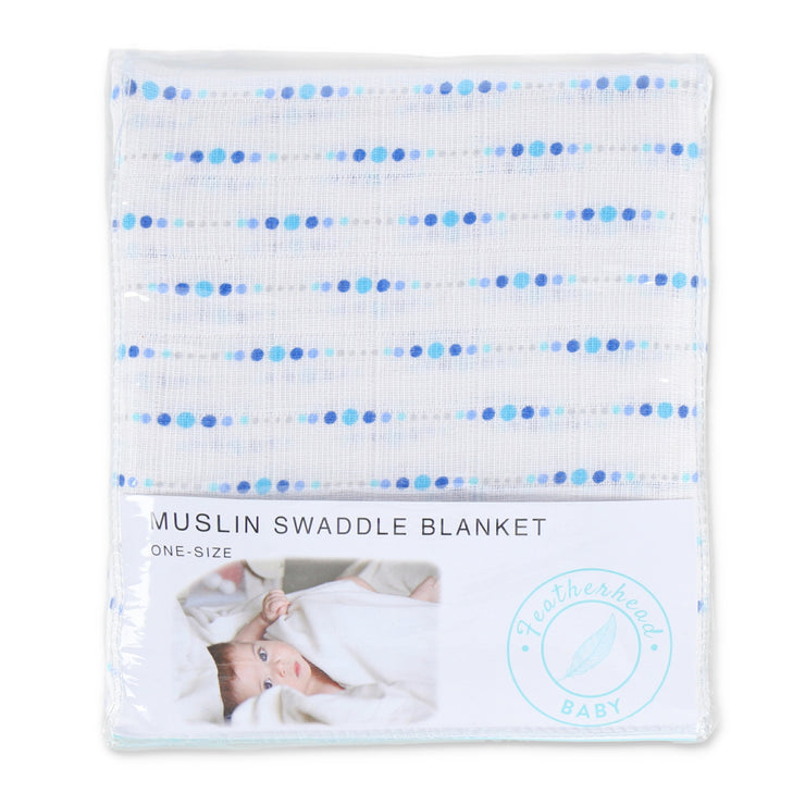 "Muslin Swaddle Blanket 44"" x 44"" - Blue Dotted - Featherhead Baby"
